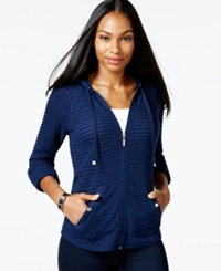 Style And Co. Petite Illusion Stripe Zipper Front Hoodie Only At Macy's Ink