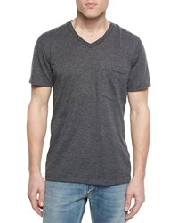 7 For All Mankind Short Sleeve V Neck T Shirt Charcoal Grey