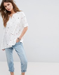 Only Batwing Shirt With Print Detail Pumice Stone Cream