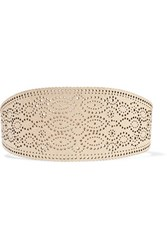 Zimmermann Embossed Perforated Leather Wide Belt Beige