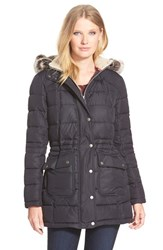 Women's Barbour Quilted Long Jacket With Faux Fur Trim