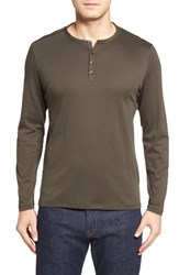 Robert Barakett Men's Cambridge Cotton Henley Soldier Green