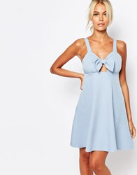 Fashion Union Cami Babydoll Dress With Bow Front Blue
