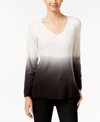 Ny Collection High Low Ombre Sweater Winter White Ombre