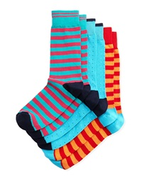 Neiman Marcus Three Pack Stretch Socks Blue Aqua Red