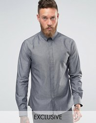 Noose And Monkey Skinny Shirt In Dogstooth Silver