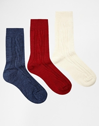 Asos 3 Pack Wool Mix Cable Ankle Socks