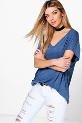 Boohoo Oversized V Neck T Shirt Denim Blue Denim Blue