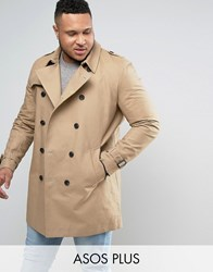 Asos Plus Double Breasted Trench Coat With Shower Resistance In Stone Stone Beige