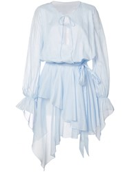 Alexandre Vauthier Ruffle Detail Dress Women Cotton 36 Blue