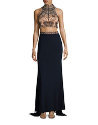 Xscape Evenings Two Piece Beaded Cropped Top And Skirt Set