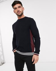 Topman Knitted Colour Block Jumper In Navy And Burgundy Multi