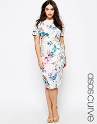Asos Curve Bodycon Dress In Scuba Floral Print Floral Print