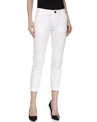 J Brand Ready To Wear Cropped Slim Fit Chino Trousers White