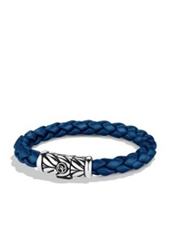 David Yurman Sterling Silver And Braided Rubber Bracelet Grey Black Blue