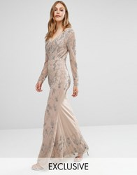 Maya Longsleeve Maxi Dress With Delicate Embellishment And Fishtail Caramel Brown