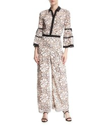 Lela Rose Full Sleeve Piped Lace Jumpsuit Pink