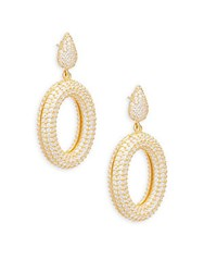 Azaara Crystal And Sterling Silver Drop Earrings Gold