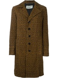 Saint Laurent Leopard Print Overcoat Brown