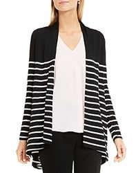 Vince Camuto Clipper Stripe High Low Cardigan Rich Black