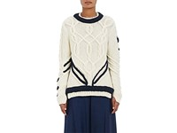 Orley Women's Contrast Braid Cable Knit Sweater Ivory
