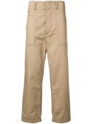 Marni Cropped Cargo Trousers Neutrals