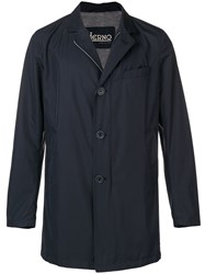 Herno Single Breasted Fitted Coat Blue