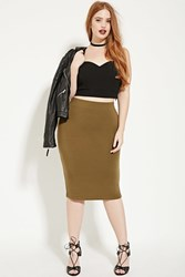 Forever 21 Plus Size Knit Pencil Skirt Olive