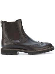 Tod's Ankle Length Boots Men Calf Leather Leather Rubber 5 Brown