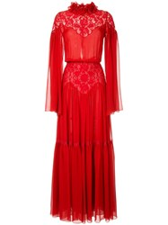 Costarellos Pleated Lace Gown Red