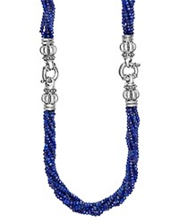 Lagos Sterling Silver Caviar Icon Lapis Beaded Multi Strand Convertible Bracelet And Necklace Blue Silver