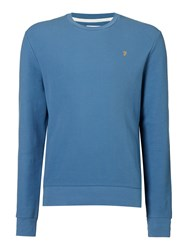 Farah Men's Ashcroft Waffle Knit Crew Neck Sweat Top Ice Blue