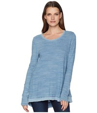 Dylan By True Grit Washed Indigo Mini Stripe Loose Long Sleeve Tee With Rib Hem Denim T Shirt Blue