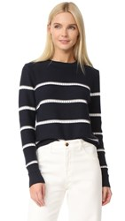 Jenni Kayne Pointelle Stripe Sweater Navy White