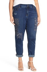 Melissa Mccarthy Seven7 Plus Size Women's High Rise Patch Girlfriend Jeans Timber