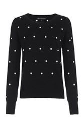 French Connection Polka Dot Knits Jumper Black
