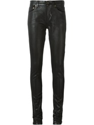 Saint Laurent High Shine Skinny Jeans Black