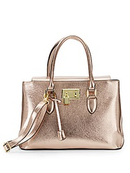 London Fog Metallic Faux Leather Satchel Rose Gold