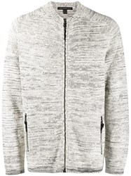 John Varvatos Zipped Fitted Cardigan Neutrals