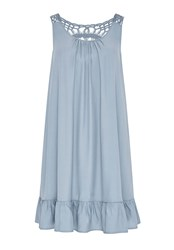 Hallhuber Smock Dress With Crochet Lace Blue