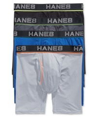 Hanes Men's 4 Pk. Platinum Comfort Flex Fit Boxer Briefs Black Grey