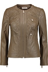 Tory Burch Braiden Quilted Leather Jacket Army Green
