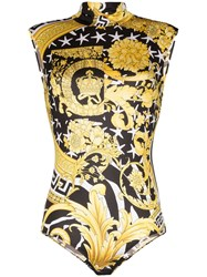 Versace Baroque Pattern Sleeveless Bodysuit White