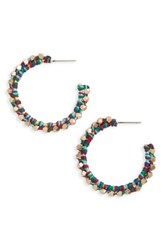 Treasure And Bond Women's Beaded Hoop Earrings Red Multi Gold