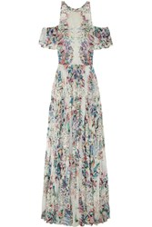Zuhair Murad Embroidered Floral Print Georgette Gown White