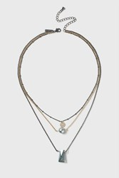 Topshop Pearl And Stone Multirow Necklace Grey