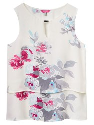 Joules Amelia Double Layer Printed Top Creme Bloom