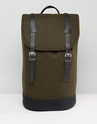 Asos Backpack In Green Melton With Faux Leather Trims Green