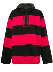 Juun.J Striped Hoodie Red