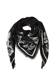 Alexander Mcqueen Skull And Roses Silk And Wool Scarf Black